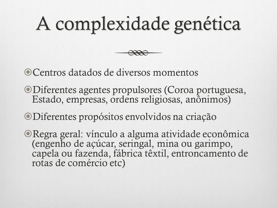 A complexidade genética Centros datados de diversos momentos Diferentes agentes propulsores (Coroa portuguesa, Estado, empresas, ordens religiosas, an