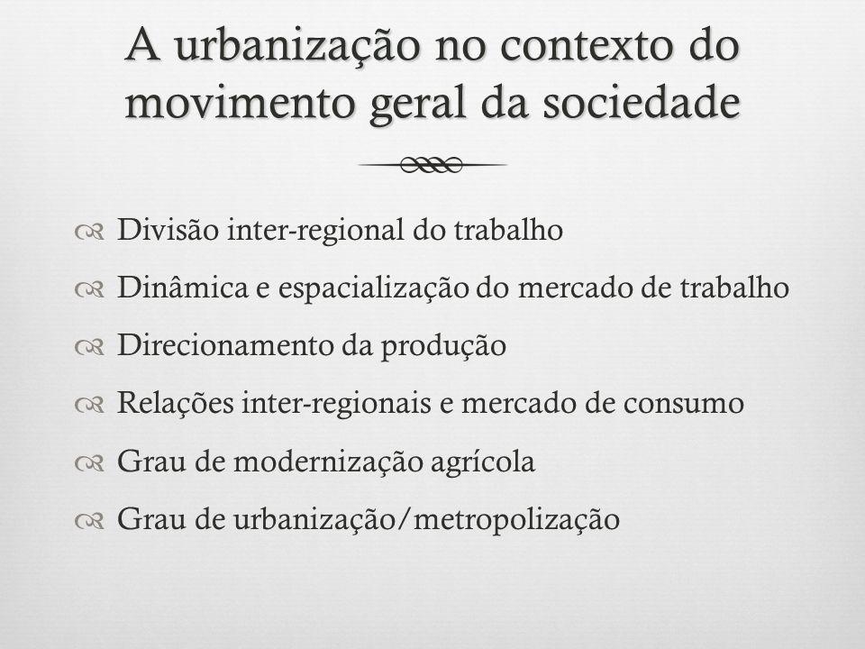 A urbanização no contexto do movimento geral da sociedade Divisão inter-regional do trabalho Dinâmica e espacialização do mercado de trabalho Direcionamento da produção Relações inter-regionais e mercado de consumo Grau de modernização agrícola Grau de urbanização/metropolização
