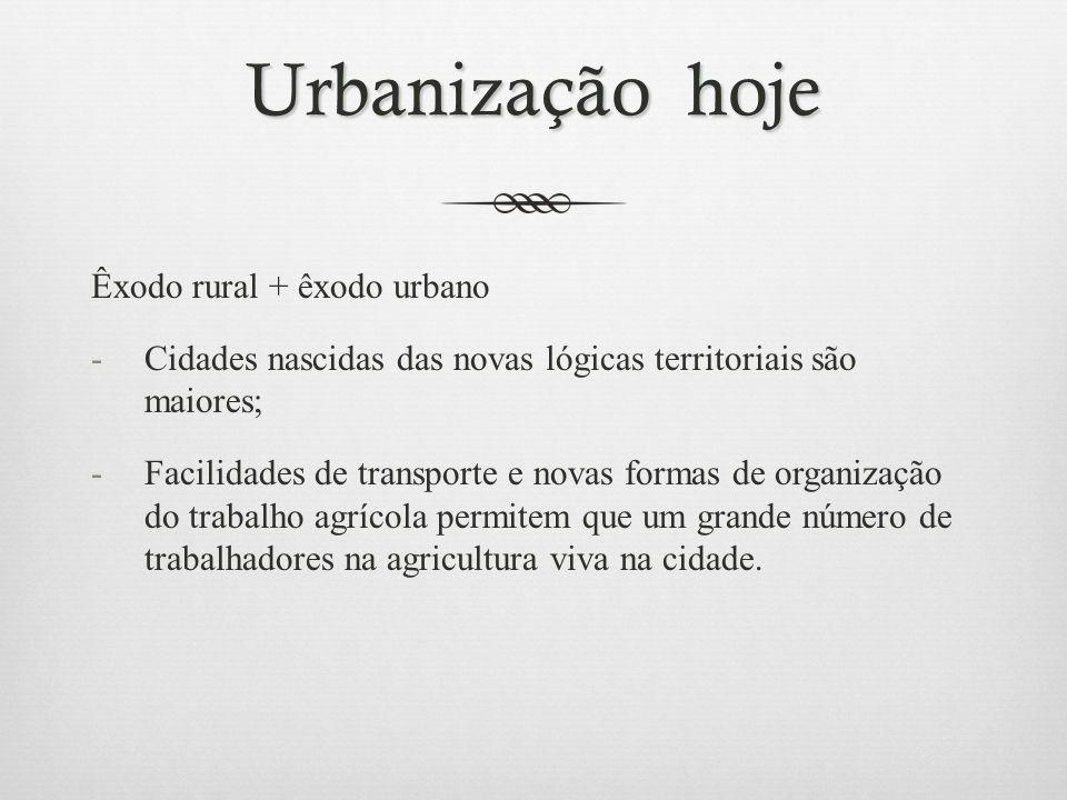 Urbanização hoje Êxodo rural + êxodo urbano -Cidades nascidas das novas lógicas territoriais são maiores; -Facilidades de transporte e novas formas de