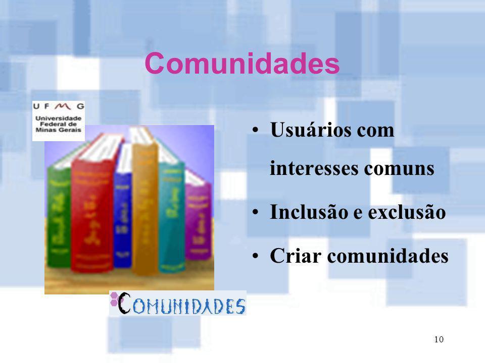 10 Comunidades Usuários com interesses comuns Inclusão e exclusão Criar comunidades