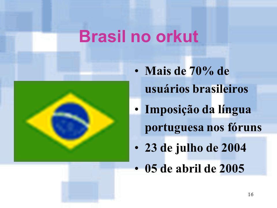 16 Brasil no orkut Mais de 70% de usuários brasileiros Imposição da língua portuguesa nos fóruns 23 de julho de 2004 05 de abril de 2005