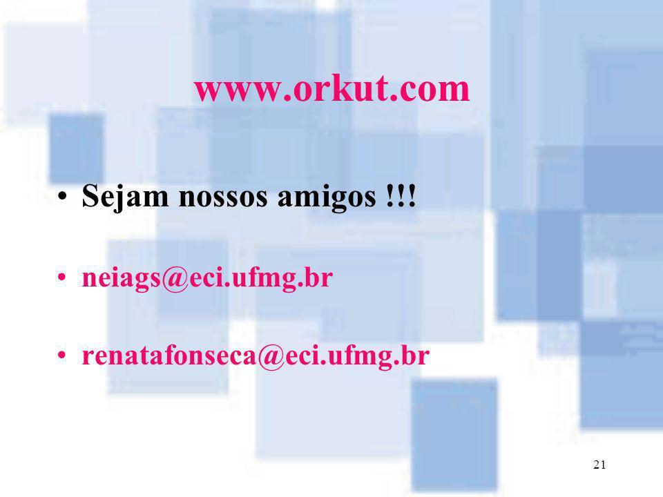 21 www.orkut.com Sejam nossos amigos !!! neiags@eci.ufmg.br renatafonseca@eci.ufmg.br