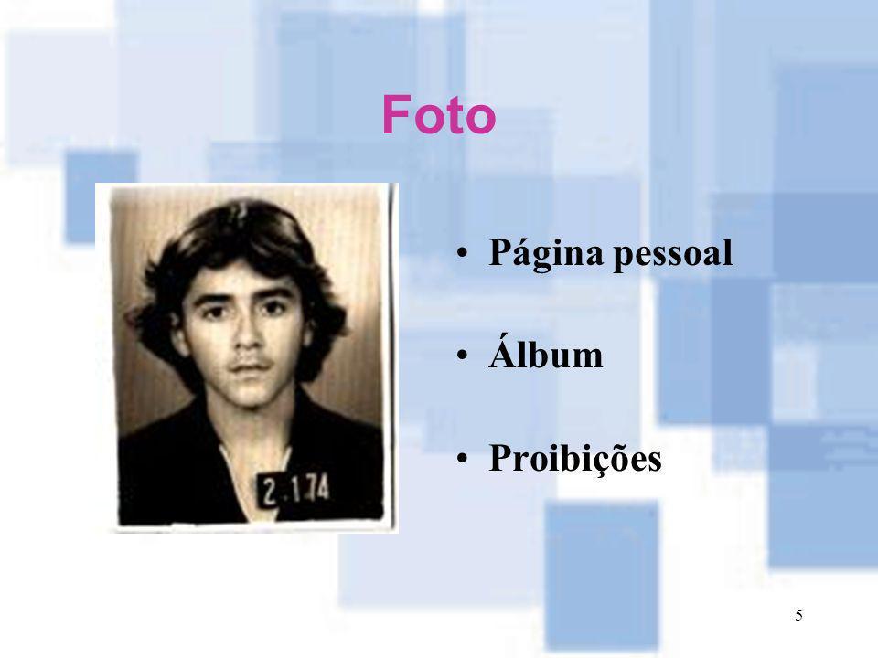 5 Foto Página pessoal Álbum Proibições