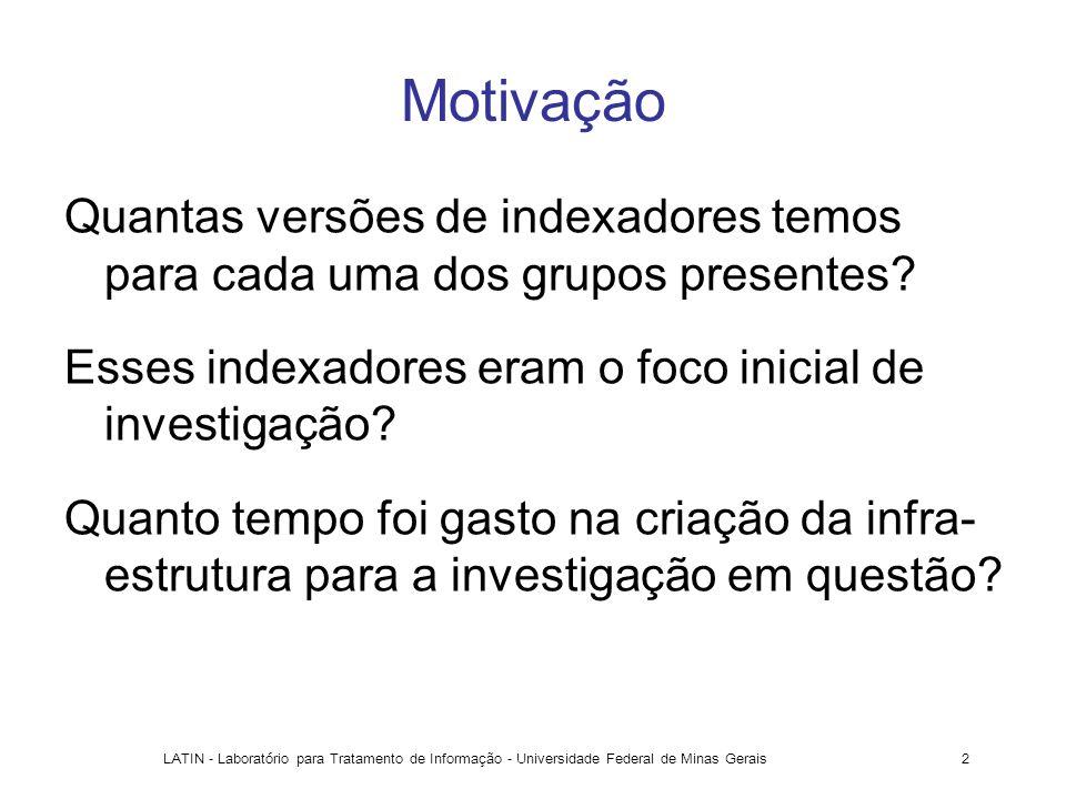 LATIN - Laboratório para Tratamento de Informação - Universidade Federal de Minas Gerais2 Motivação Quantas versões de indexadores temos para cada uma