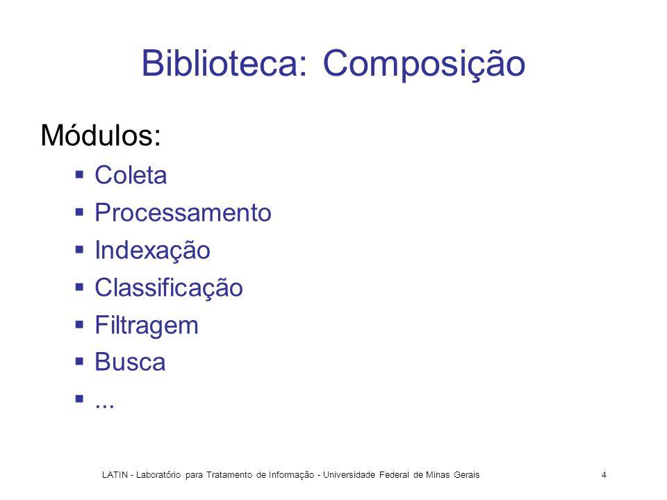 LATIN - Laboratório para Tratamento de Informação - Universidade Federal de Minas Gerais4 Biblioteca: Composição Módulos: Coleta Processamento Indexaç