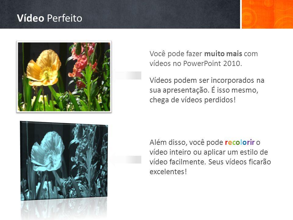 Você pode fazer muito mais com vídeos no PowerPoint 2010. Vídeos podem ser incorporados na sua apresentação. É isso mesmo, chega de vídeos perdidos! A