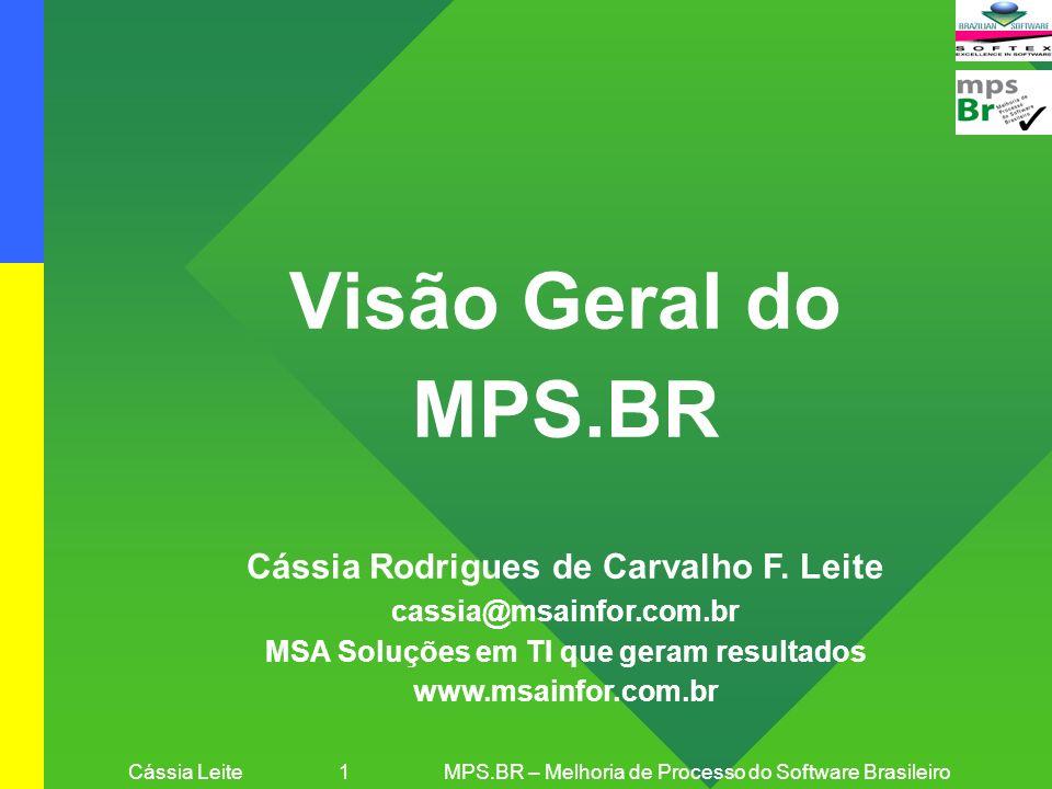 Cássia Leite 12MPS.BR – Melhoria de Processo do Software Brasileiro MPS.BR: Objetivo e Metas Objetivo: Visa a melhoria de processos de software em empresas brasileiras, a um custo acessível, especialmente na grande massa de micro, pequenas e médias empresas Meta Física 1: Desenvolvimento e Aprimoramento do Modelo MPS.BR Em 2005-2006, Cursos, Provas e Workshops anuais + 3 Guias + 20 Instituições Implementadoras do Modelo MPS.BR (II-MPS.BR) + 15 Instituições Avaliadoras do Modelo MPS.BR (IA-MPS.BR) Meta Física 2: Implementação e Avaliação do MPS.BR em Empresas, com Foco em Grupos de Empresas Em 2005-2006, 120 empresas com Modelo MPS.BR implementado + 60 empresas avaliadas Em 2007-2008, + 160 empresas com Modelo MPS.BR implementado + 80 empresas avaliadas