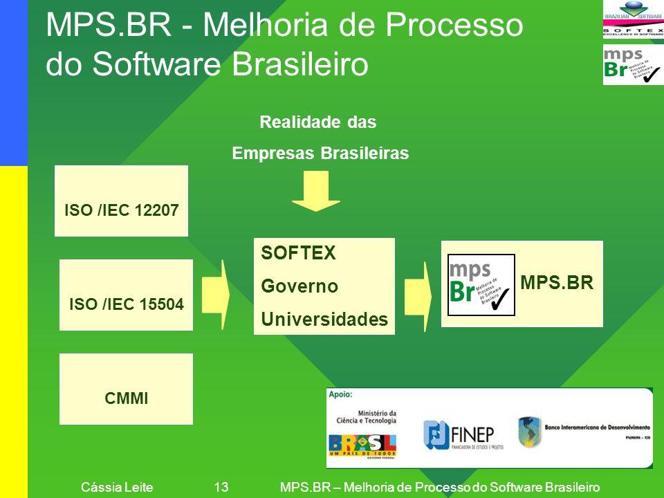 Cássia Leite 13MPS.BR – Melhoria de Processo do Software Brasileiro MPS.BR - Melhoria de Processo do Software Brasileiro MPS.BR Realidade das Empresas