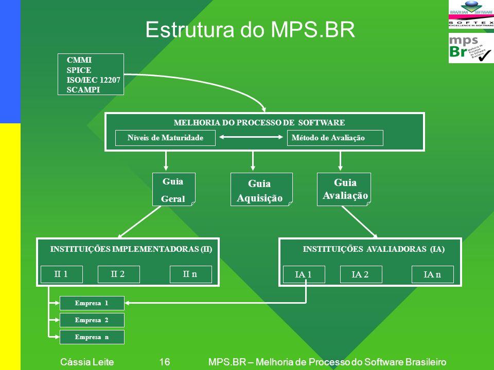 Cássia Leite 16MPS.BR – Melhoria de Processo do Software Brasileiro MELHORIA DO PROCESSO DE SOFTWARE Empresa 1 CMMI SPICE ISO/IEC 12207 SCAMPI... INST