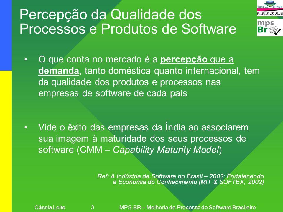 Cássia Leite 4MPS.BR – Melhoria de Processo do Software Brasileiro Comparação da Maturidade do Processo de Software No Brasil, as empresas locais favoreceram a ISO 9001, que equivale aproximadamente ao nível 3 do CMM Até 2003, na Índia, 32 empresas atingiram o nível 5 do CMM, no qual a China tinha 1 empresa e o Brasil nenhuma [Em relação ao CMM], como um todo, a maioria das empresas chinesas e brasileiras não está em um nível suficientemente alto de maturidade do processo para competir com as empresas indianas Ref: Slicing the Knowledge-based Economy in Brazil, China and India: a tale of 3 software industries [MIT, 2003]