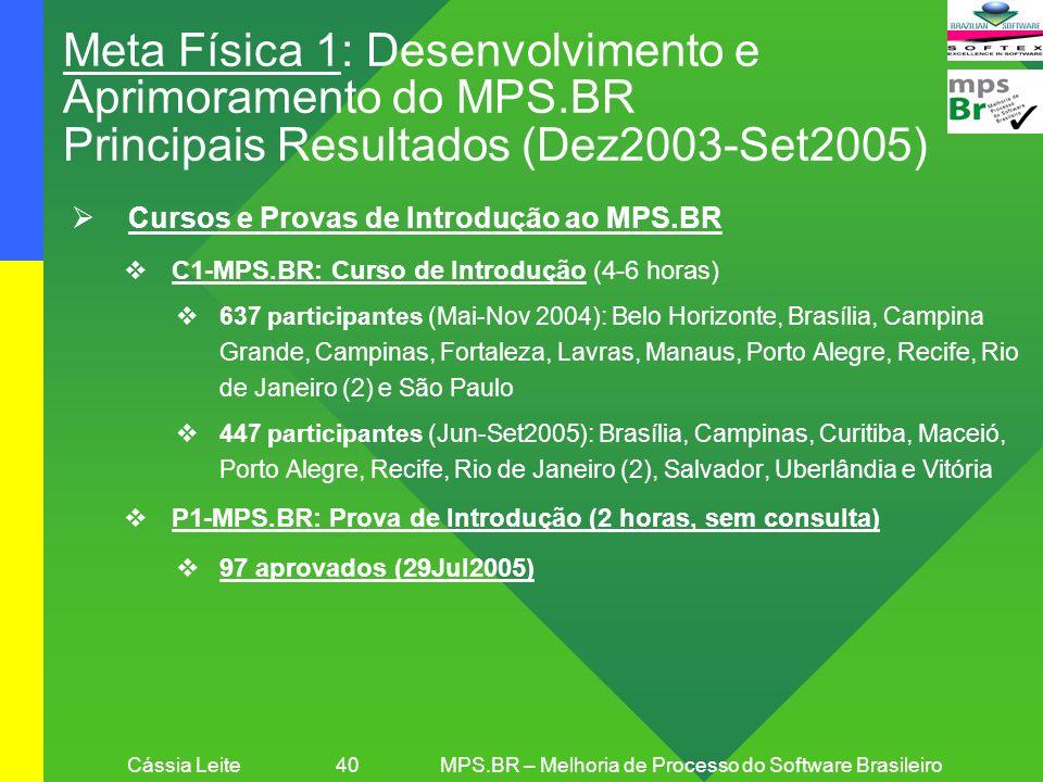 Cássia Leite 40MPS.BR – Melhoria de Processo do Software Brasileiro Meta Física 1: Desenvolvimento e Aprimoramento do MPS.BR Principais Resultados (De