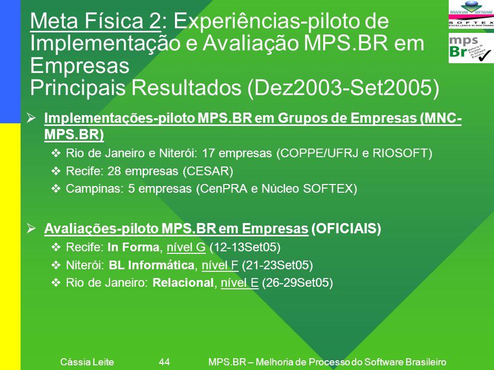 Cássia Leite 44MPS.BR – Melhoria de Processo do Software Brasileiro Meta Física 2: Experiências-piloto de Implementação e Avaliação MPS.BR em Empresas