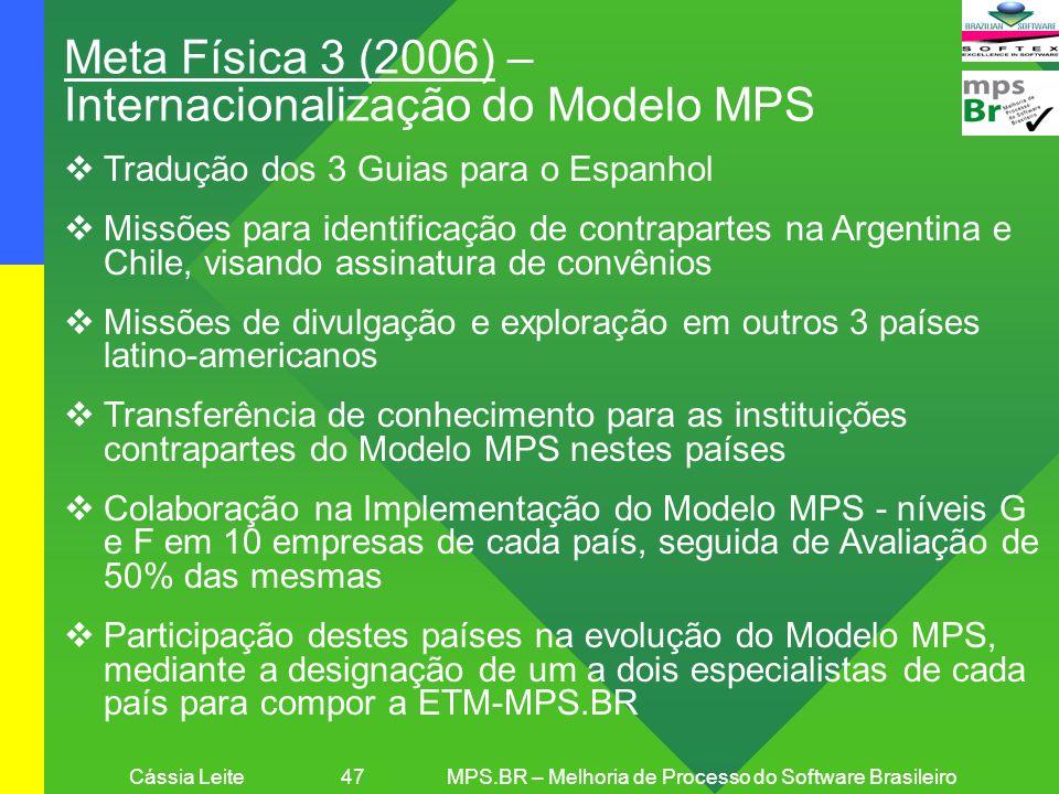 Cássia Leite 47MPS.BR – Melhoria de Processo do Software Brasileiro Meta Física 3 (2006) – Internacionalização do Modelo MPS Tradução dos 3 Guias para