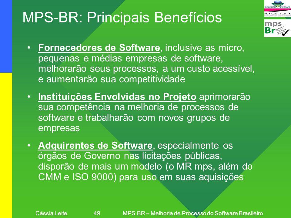 Cássia Leite 49MPS.BR – Melhoria de Processo do Software Brasileiro MPS-BR: Principais Benefícios Fornecedores de Software, inclusive as micro, pequen