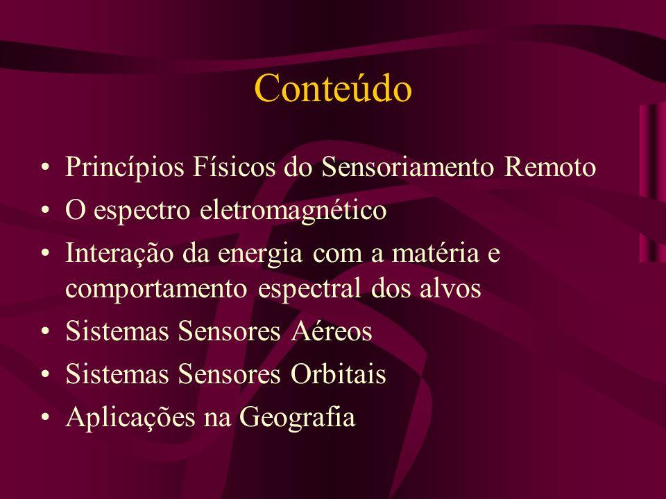 Conteúdo Princípios Físicos do Sensoriamento Remoto O espectro eletromagnético Interação da energia com a matéria e comportamento espectral dos alvos Sistemas Sensores Aéreos Sistemas Sensores Orbitais Aplicações na Geografia