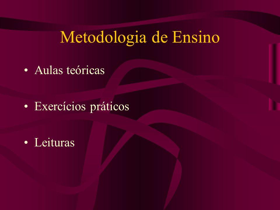 Metodologia de Ensino Aulas teóricas Exercícios práticos Leituras
