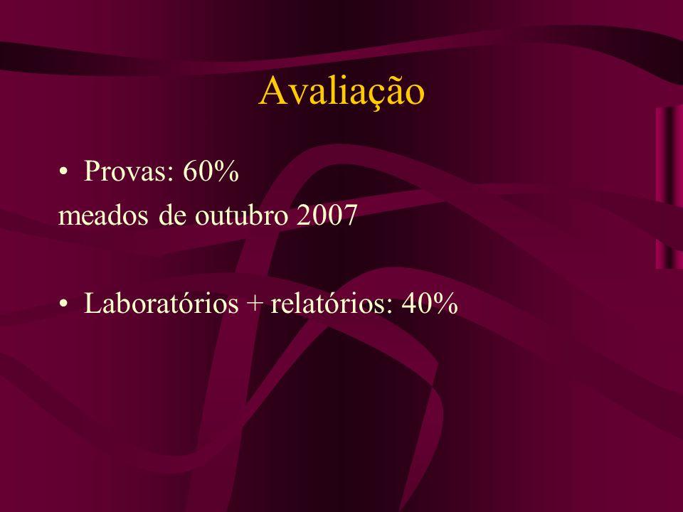 Avaliação Provas: 60% meados de outubro 2007 Laboratórios + relatórios: 40%