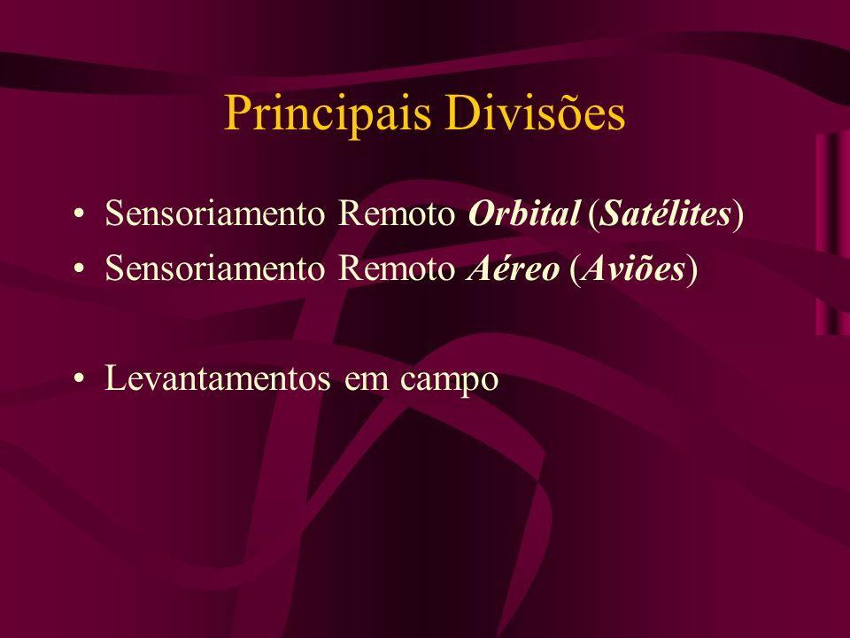 Principais Divisões Sensoriamento Remoto Orbital (Satélites) Sensoriamento Remoto Aéreo (Aviões) Levantamentos em campo