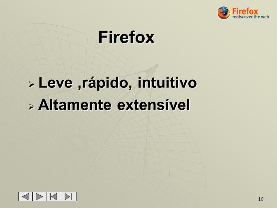 10 Firefox Leve,rápido, intuitivo Leve,rápido, intuitivo Altamente extensível Altamente extensível