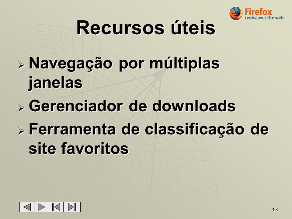 13 Recursos úteis Navegação por múltiplas janelas Navegação por múltiplas janelas Gerenciador de downloads Gerenciador de downloads Ferramenta de clas