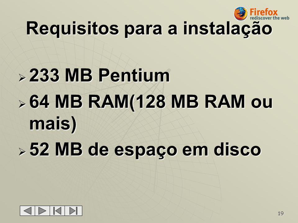 19 Requisitos para a instalação 233 MB Pentium 233 MB Pentium 64 MB RAM(128 MB RAM ou mais) 64 MB RAM(128 MB RAM ou mais) 52 MB de espaço em disco 52