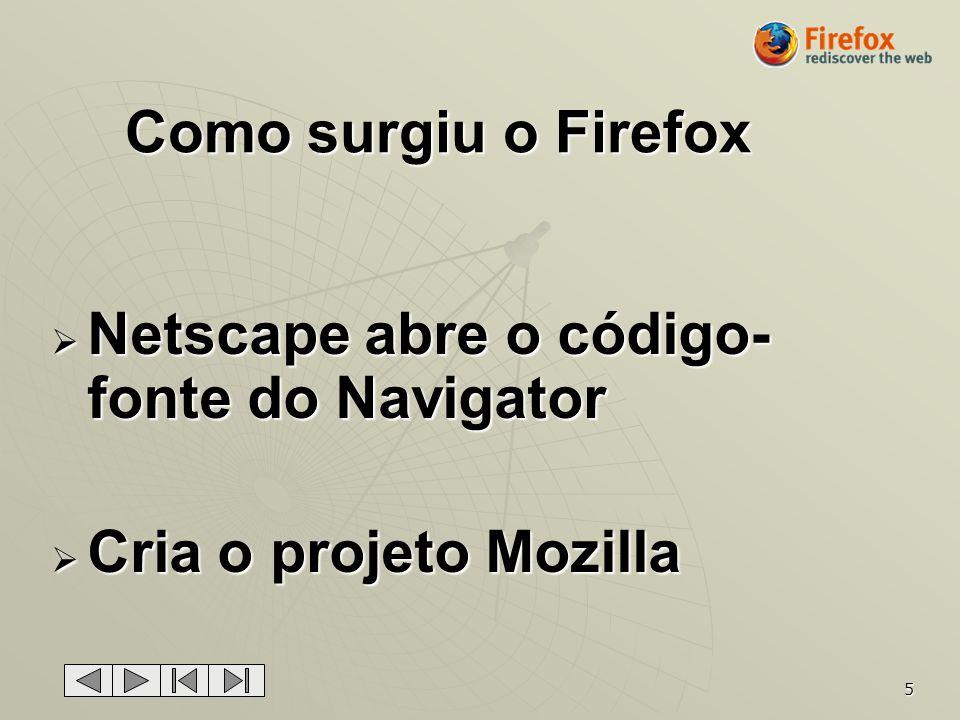 5 Como surgiu o Firefox Netscape abre o código- fonte do Navigator Netscape abre o código- fonte do Navigator Cria o projeto Mozilla Cria o projeto Mo