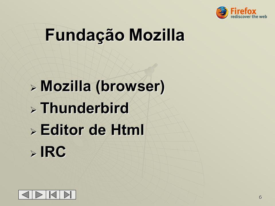 6 Mozilla (browser) Mozilla (browser) Thunderbird Thunderbird Editor de Html Editor de Html IRC IRC Fundação Mozilla