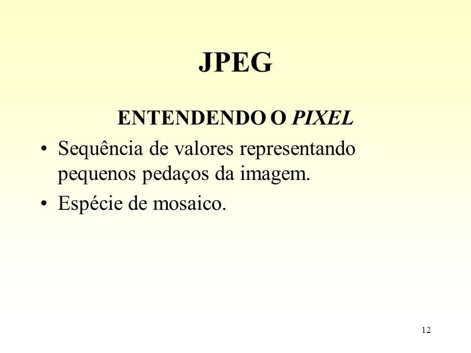 12 JPEG ENTENDENDO O PIXEL Sequência de valores representando pequenos pedaços da imagem. Espécie de mosaico.