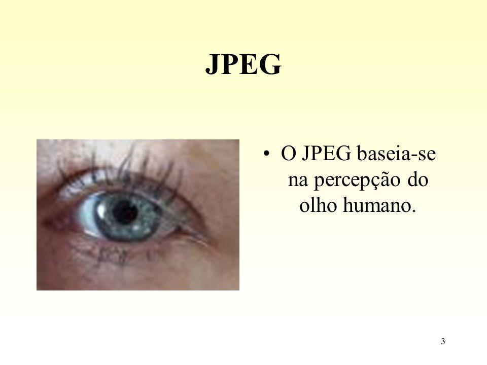 3 JPEG O JPEG baseia-se na percepção do olho humano.