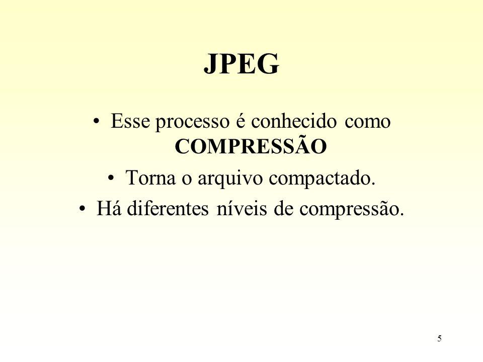 5 JPEG Esse processo é conhecido como COMPRESSÃO Torna o arquivo compactado. Há diferentes níveis de compressão.