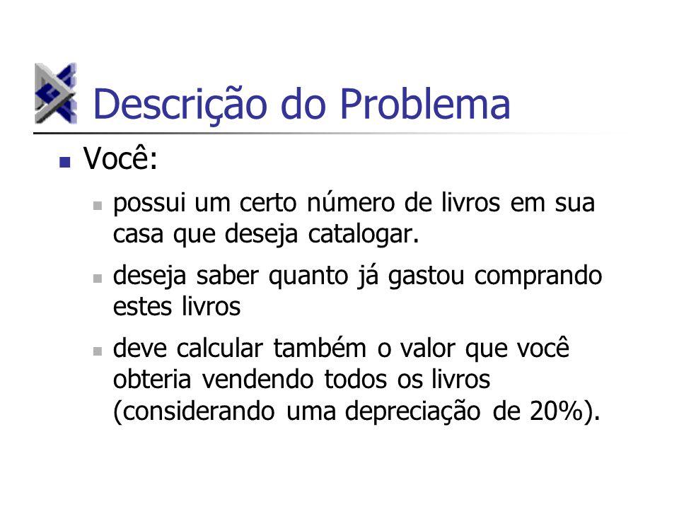 Descrição do Problema Você: possui um certo número de livros em sua casa que deseja catalogar.