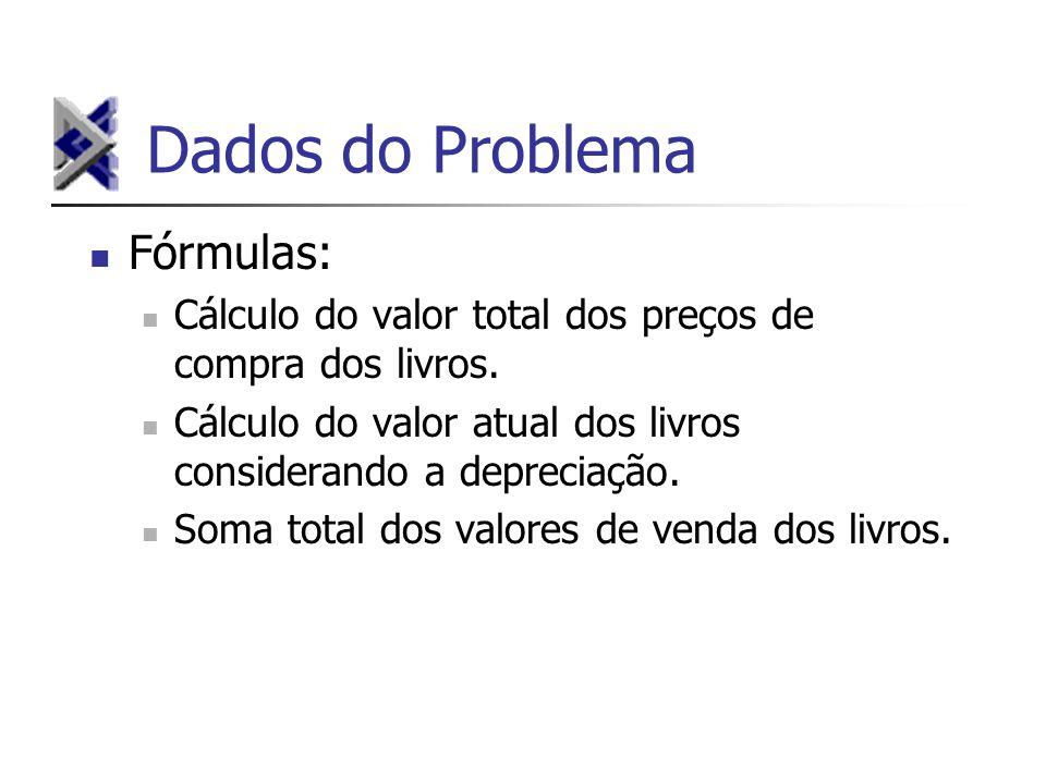 Dados do Problema Fórmulas: Cálculo do valor total dos preços de compra dos livros.