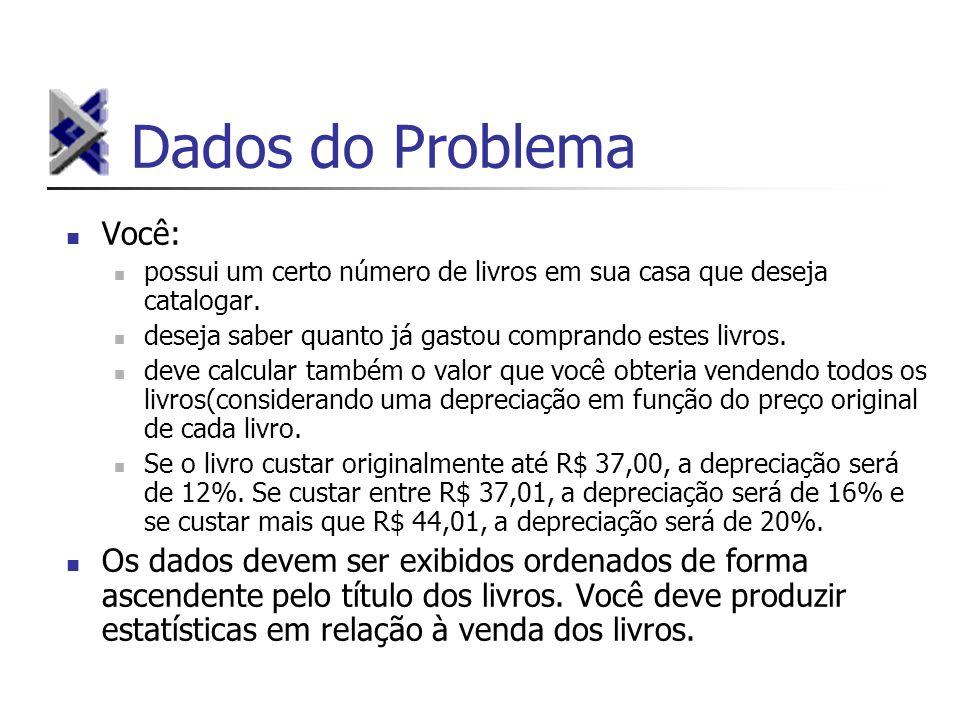 Dados do Problema Você: possui um certo número de livros em sua casa que deseja catalogar.