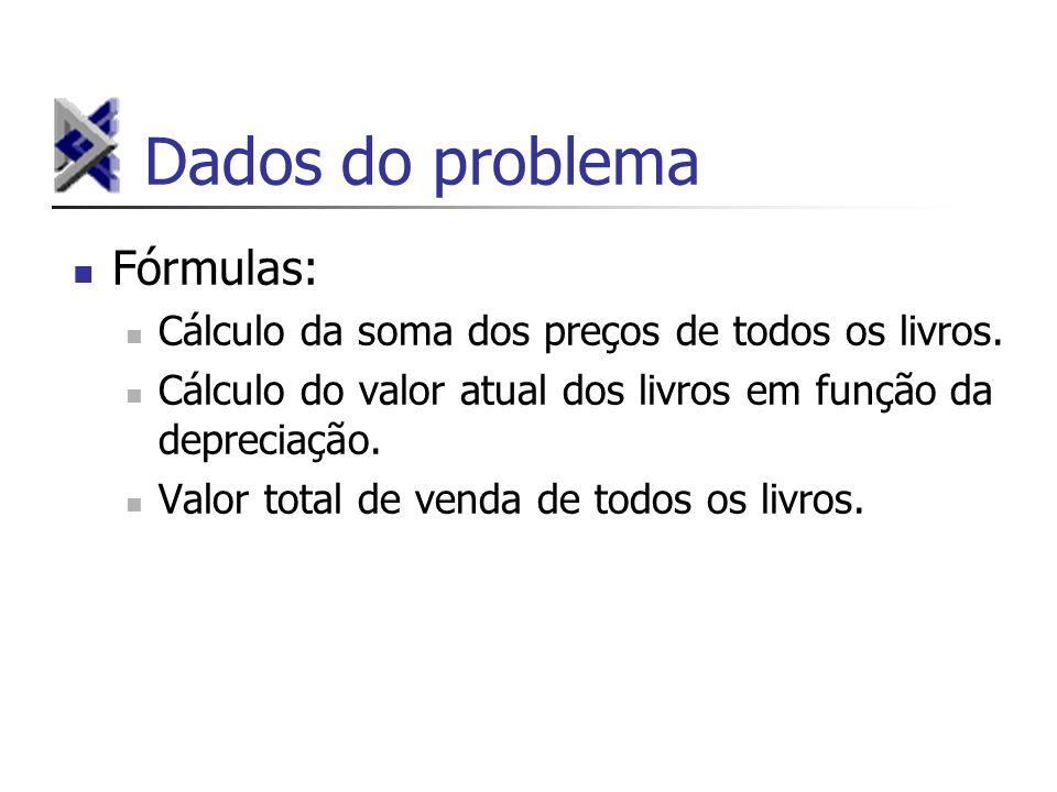 Dados do problema Fórmulas: Cálculo da soma dos preços de todos os livros.
