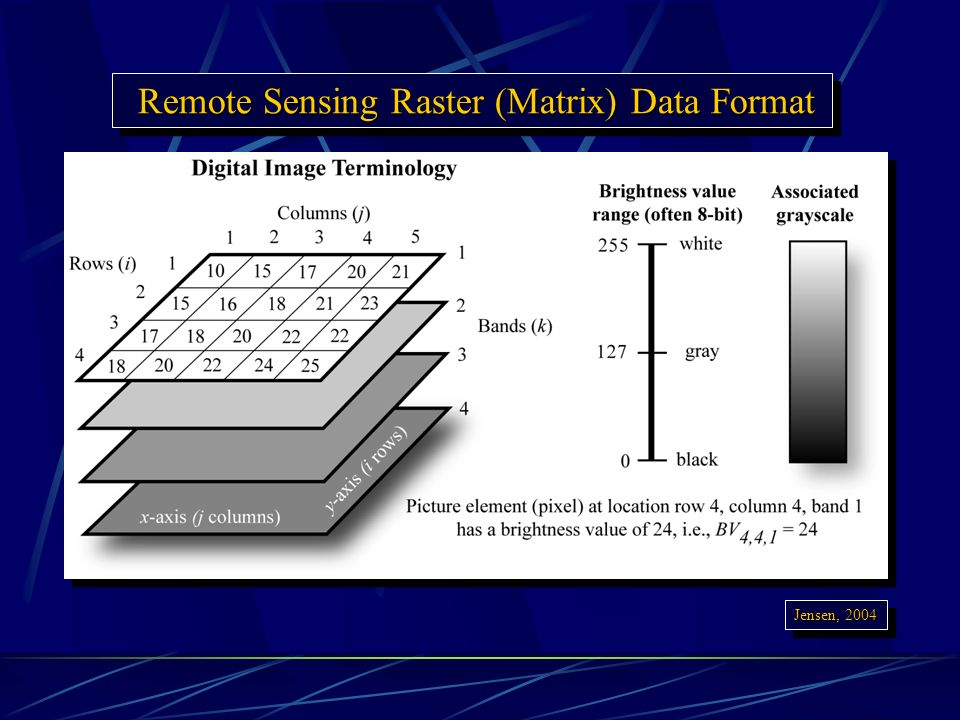 Remote Sensing Raster (Matrix) Data Format Remote Sensing Raster (Matrix) Data Format Jensen, 2004