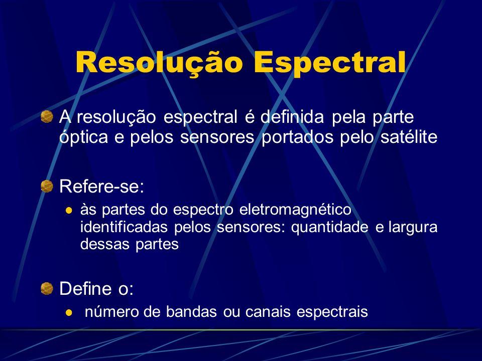 Resolução Espectral A resolução espectral é definida pela parte óptica e pelos sensores portados pelo satélite Refere-se: às partes do espectro eletromagnético identificadas pelos sensores: quantidade e largura dessas partes Define o: número de bandas ou canais espectrais