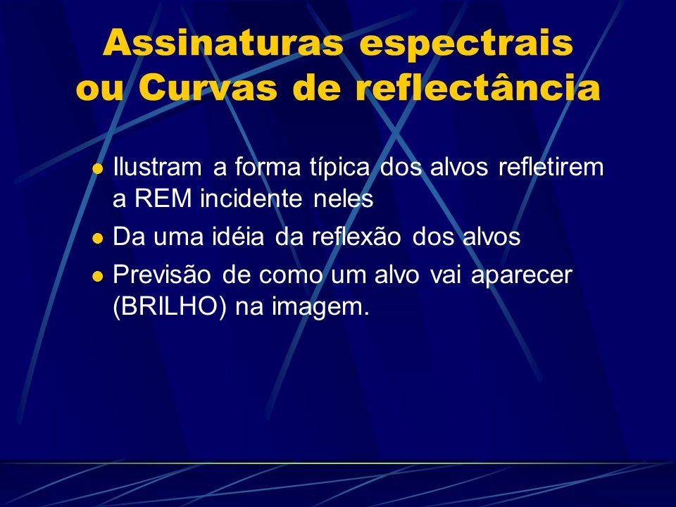 Assinaturas espectrais ou Curvas de reflectância Ilustram a forma típica dos alvos refletirem a REM incidente neles Da uma idéia da reflexão dos alvos Previsão de como um alvo vai aparecer (BRILHO) na imagem.