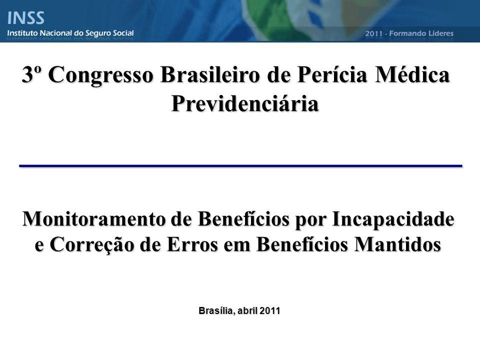 ______________________________ 3º Congresso Brasileiro de Perícia Médica Previdenciária Brasília, abril 2011 Monitoramento de Benefícios por Incapacidade e Correção de Erros em Benefícios Mantidos