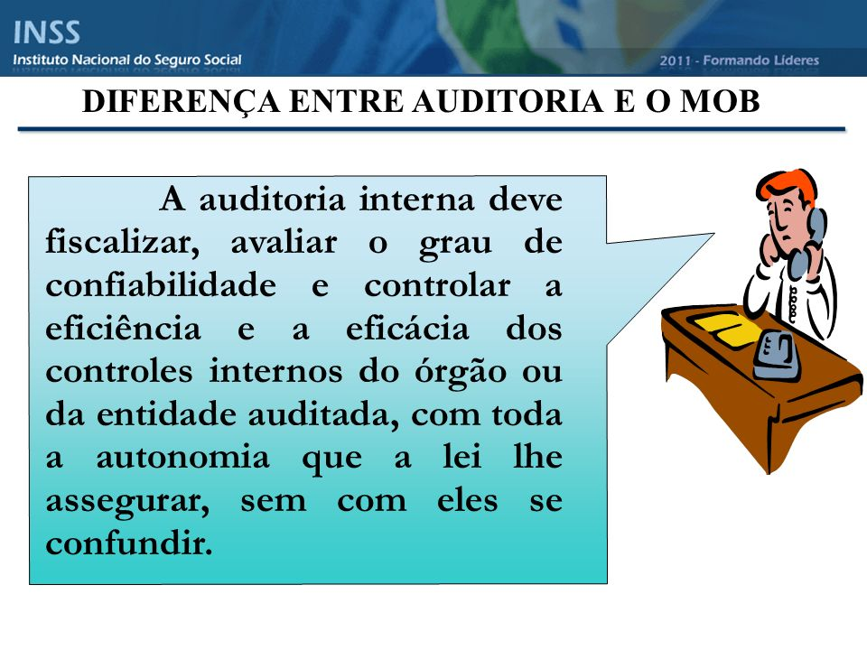 _______________________________ A auditoria interna deve fiscalizar, avaliar o grau de confiabilidade e controlar a eficiência e a eficácia dos controles internos do órgão ou da entidade auditada, com toda a autonomia que a lei lhe assegurar, sem com eles se confundir.