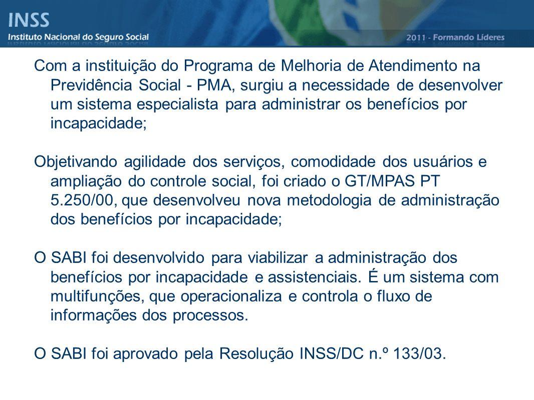Com a instituição do Programa de Melhoria de Atendimento na Previdência Social - PMA, surgiu a necessidade de desenvolver um sistema especialista para