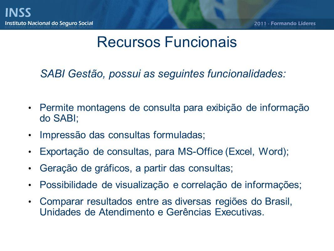 Recursos Funcionais O SABI Gestão, possui as seguintes funcionalidades: Permite montagens de consulta para exibição de informação do SABI; Impressão d