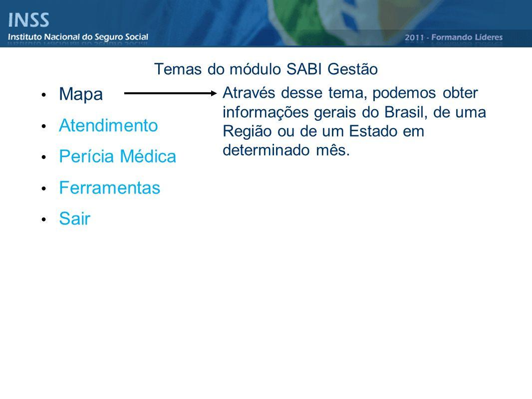 Temas do módulo SABI Gestão Mapa Atendimento Perícia Médica Ferramentas Sair Através desse tema, podemos obter informações gerais do Brasil, de uma Re