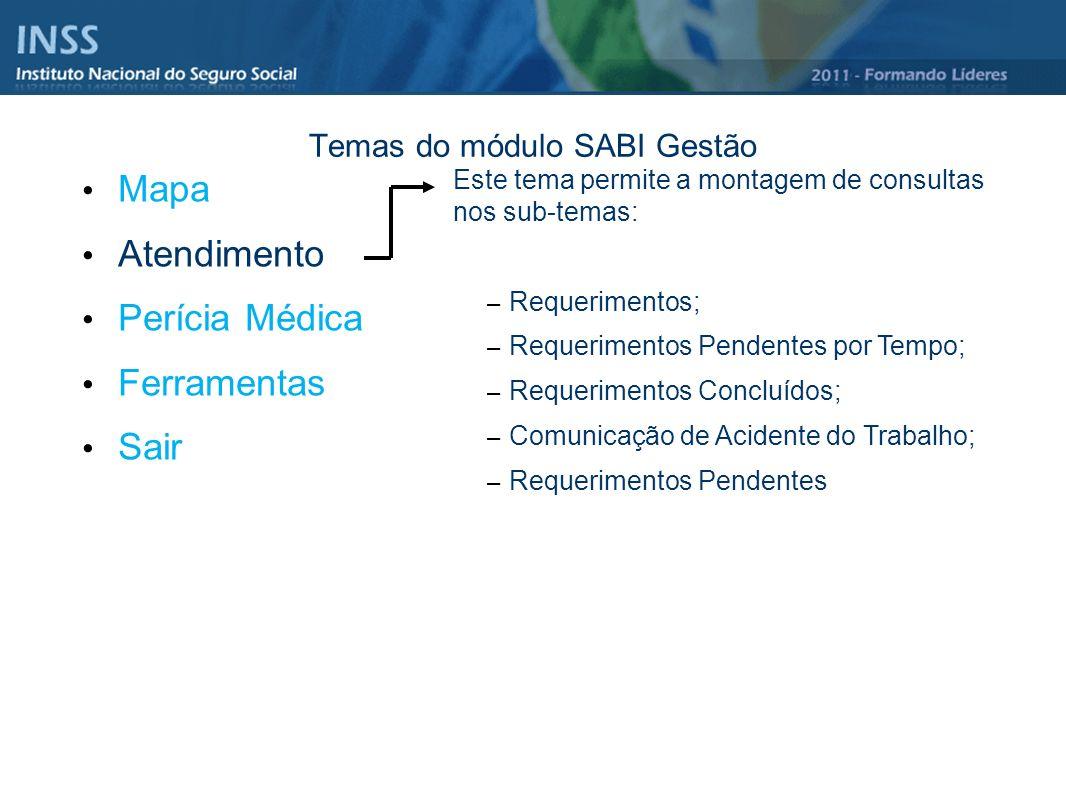 Temas do módulo SABI Gestão Mapa Atendimento Perícia Médica Ferramentas Sair Este tema permite a montagem de consultas nos sub-temas: – Requerimentos;