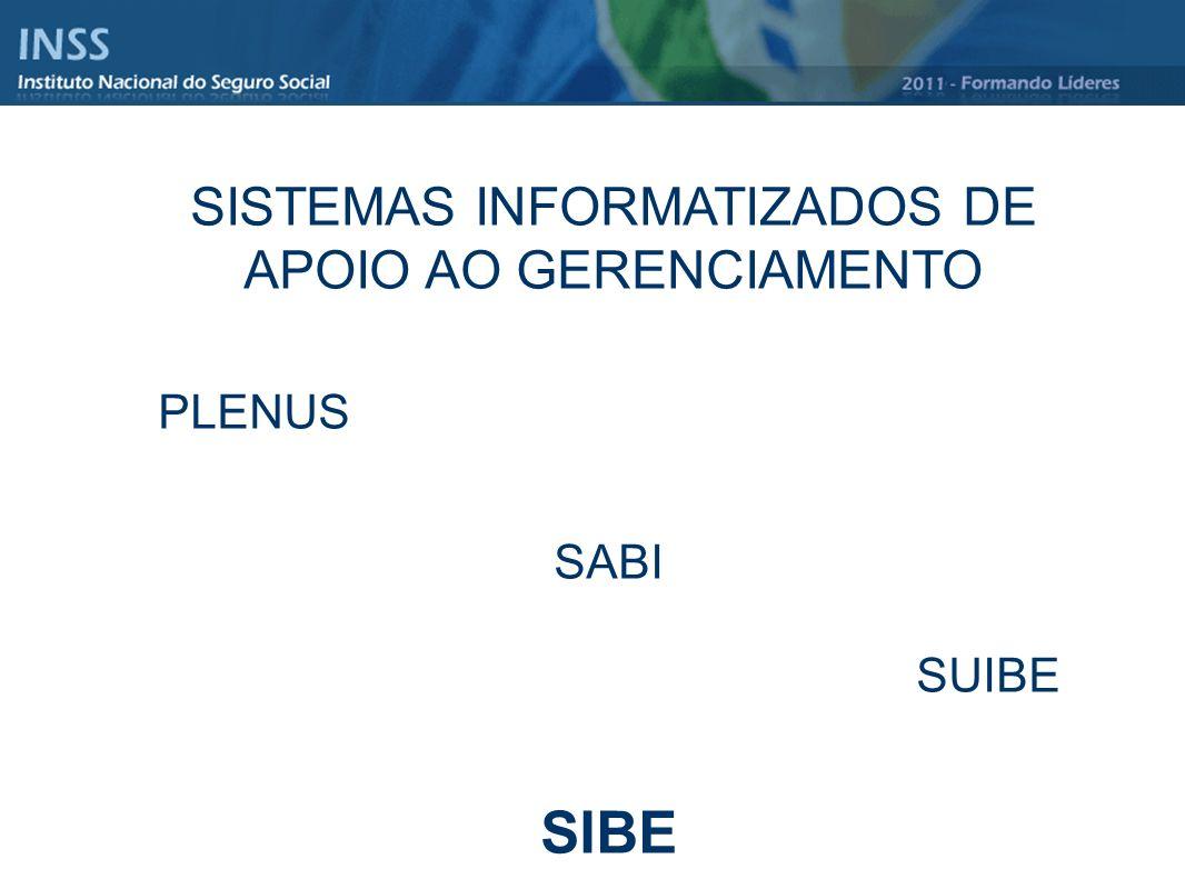 SISTEMAS INFORMATIZADOS DE APOIO AO GERENCIAMENTO PLENUS SABI SUIBE SIBE