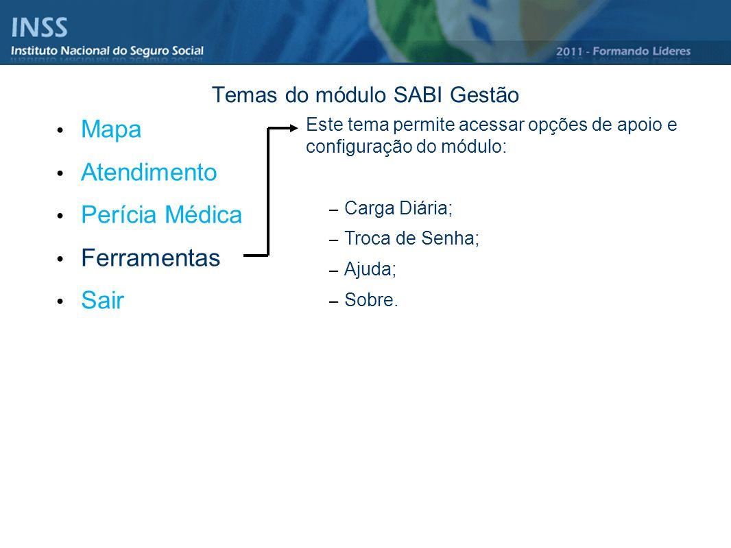 Temas do módulo SABI Gestão Mapa Atendimento Perícia Médica Ferramentas Sair Este tema permite acessar opções de apoio e configuração do módulo: – Car