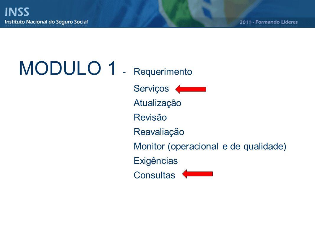 MODULO 1 - Requerimento Serviços Atualização Revisão Reavaliação Monitor (operacional e de qualidade) Exigências Consultas