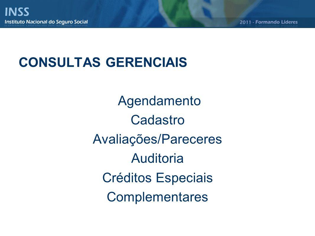 CONSULTAS GERENCIAIS Agendamento Cadastro Avaliações/Pareceres Auditoria Créditos Especiais Complementares