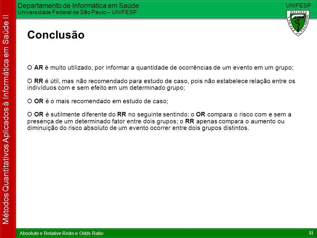 Departamento de Informática em Saúde Universidade Federal de São Paulo – UNIFESP UNIFESP 11 Métodos Quantitativos Aplicados à Informática em Saúde II
