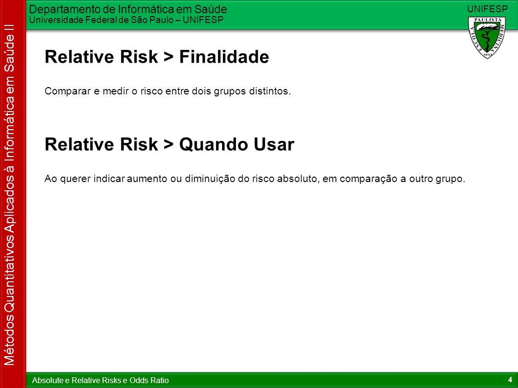 Departamento de Informática em Saúde Universidade Federal de São Paulo – UNIFESP UNIFESP 4 Métodos Quantitativos Aplicados à Informática em Saúde II A
