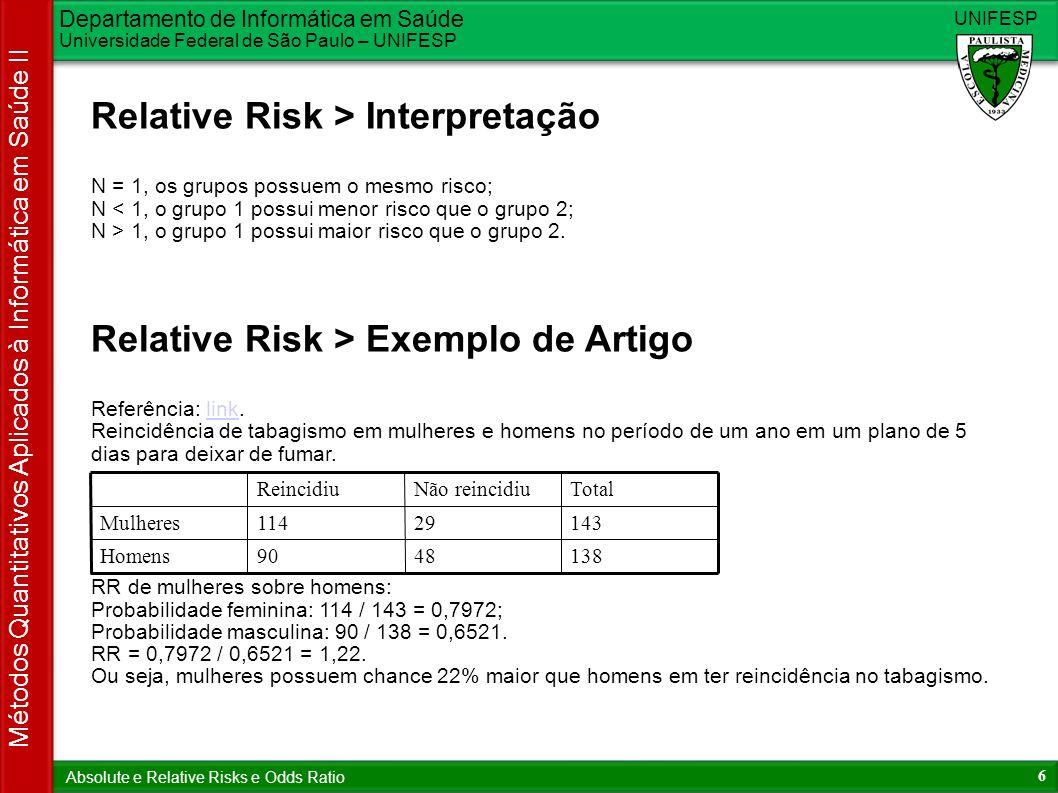 Departamento de Informática em Saúde Universidade Federal de São Paulo – UNIFESP UNIFESP 6 Métodos Quantitativos Aplicados à Informática em Saúde II Absolute e Relative Risks e Odds Ratio Relative Risk > Interpretação N = 1, os grupos possuem o mesmo risco; N < 1, o grupo 1 possui menor risco que o grupo 2; N > 1, o grupo 1 possui maior risco que o grupo 2.